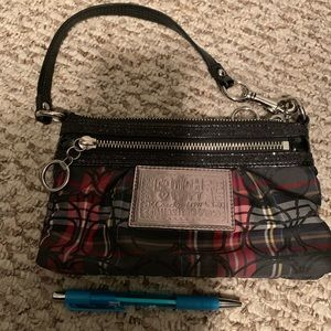 Plaid coach wristlet